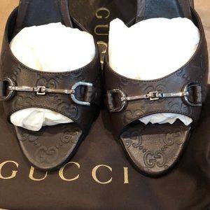 Authentic brand new Gucci brown horsebit heel